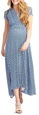 Nom Maternity Caroline Printed High/Low Maxi During & After Dress