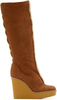 Chloé Tan Shearling Wedge Boots