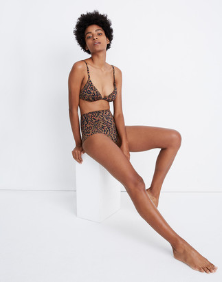 Madewell Second Wave Retro High-Waisted Bikini Bottom in Jungle Cat