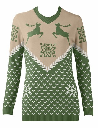 British Christmas Jumpers Women's Green Vintage Dancing Stags Eco Christmas Jumper Pullover Sweater XS