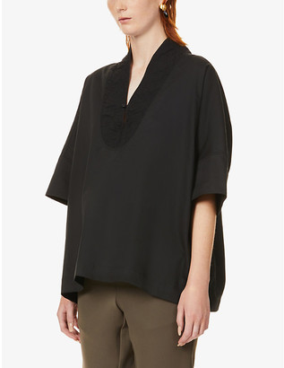 Y's Contrast-neckline relaxed-fit woven top