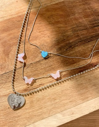 ASOS DESIGN multirow necklace with opal pendants and butterfly heart in silver tone