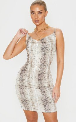Barcoded Nude Snake Print Strappy Ruched Bodycon Dress