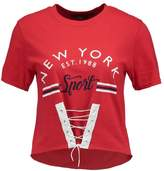 Missguided NEW YORK GRAPHIC CORSET LACE UP FRONT CROP Print Tshirt red