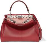 Fendi Peekaboo Mini Leather Shoulder Bag - Claret