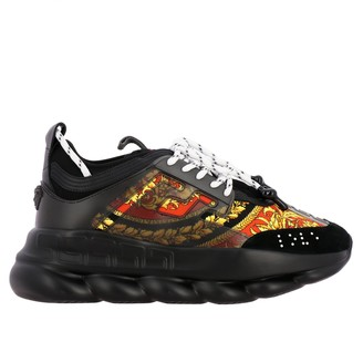 Versace Chain Reaction Sneakers In Leather And Mesh With Baroque Print
