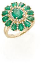Effy Diamond, Emerald & 14K Yellow Gold Flower Ring