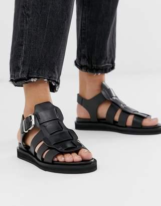 Bronx Bala black leather chunky gladiator sandal