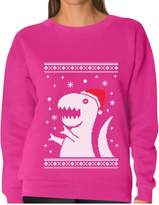 TeeStars - Ugly Christmas Sweater Big Trex Santa - Funny Xmas Women Sweatshirt