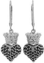 King Baby Studio Small 3D Pink CZ Crowned Heart Earrings Earring