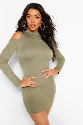boohoo Cold Shoulder Long Sleeve Bodycon Mini Dress