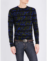 Dsquared2 Camo-print Knitted Wool Jumper