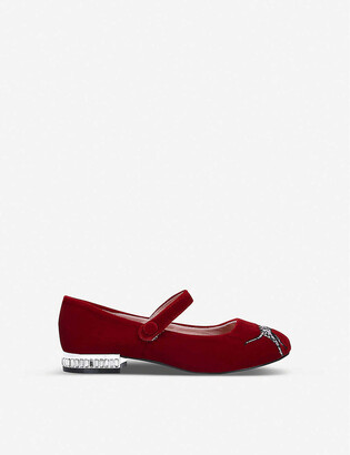 Kurt Geiger Mini Leh Red Dalmatian Print Ballerina Flats Ages 2-7