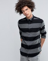 Cheap Monday Bolt Shirt Block Stripe Flannel Black