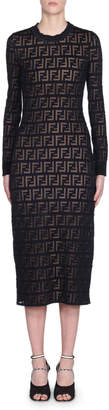 Fendi Long-Sleeve Logo Jacquard Bodycon Dress