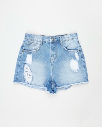 Cotton On Girl's Blue Denim - Sully Denim Shorts - Teens - Size 10 YRS at The Iconic