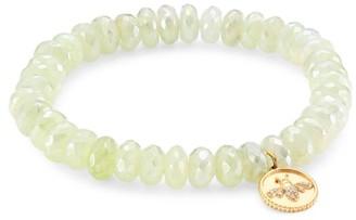 Sydney Evan 14K Yellow Gold, Prehnite & Diamond Bee Charm Beaded Bracelet