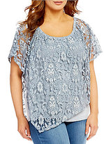 Democracy Plus Lace Scarf Short Sleeve Top