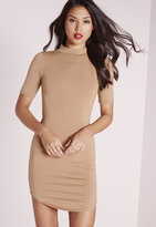 Missguided Short Sleeve Curve Hem Bodycon Dress Camel