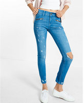 Express distressed mid rise zip pocket ankle jean legging