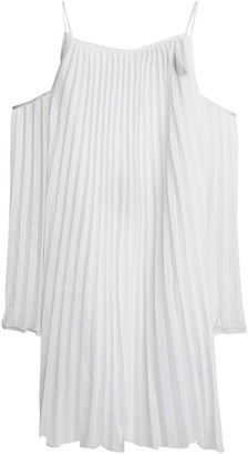 Emma Pake Julietta Cold-shoulder Pleated Voile Coverup