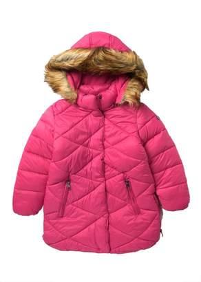 Steve Madden Faux Fur Trim Hooded Long Puffer Jacket (Big Girls)