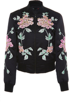 3x1 Floral Embroidered Satin Bomber