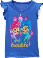 Children's Apparel Network Blue 'Trouble' Flutter Sleeve Top - Toddler & Girls