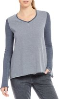 Calvin Klein Mixed Media V-Neck Bell Sleeve Knit Top
