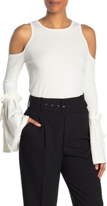 Milly Ruffled Cold Shoulder Blouse