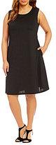 Kasper Plus Knit Concepts Solid Swing Dress