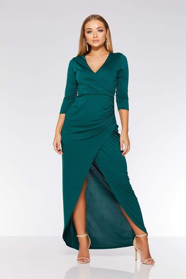 Quiz Black Wrap 3/4 Sleeve Maxi Dress