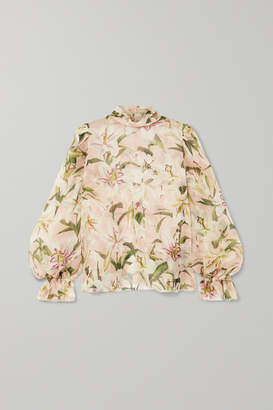 Dolce & Gabbana Floral-print Silk-organza Blouse - Pink