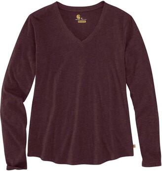 Carhartt Women's Relaxed Fit Midweight Long-Sleeve V-Neck T-Shirt