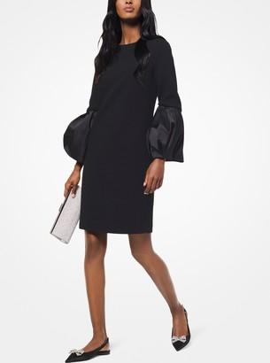Michael Kors Stretch Boucle-Crepe Puff-Sleeve Shift Dress