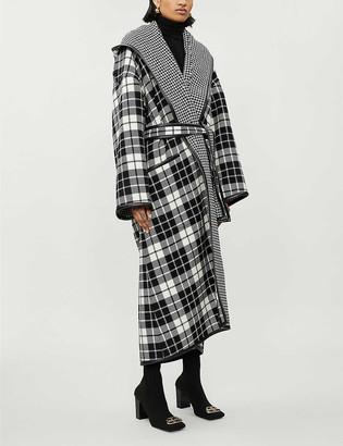 Balenciaga Tartan wool and cashmere-blend hooded coat