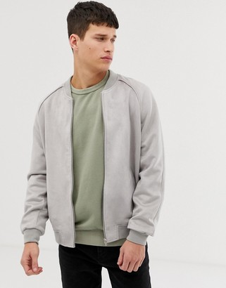 ASOS DESIGN faux suede bomber jacket in grey