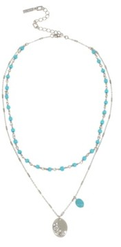 Kenneth Cole New York Silver-Tone Pave Disc Pendant Layered Necklace