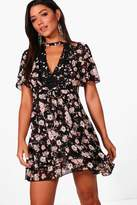 boohoo Shay Crochet Trim Cold Shoulder Tea Dress
