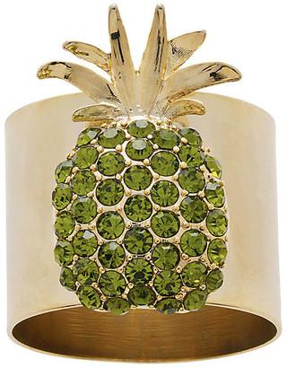 Joanna Buchanan Set of 2 Pineapple Napkin Rings - Gold/Green