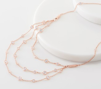 Diamonique Magnetic Lariat Necklace, Sterling Silver