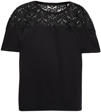 Sandro Guipure Lace And Cotton And Modal-blend Jersey T-shirt