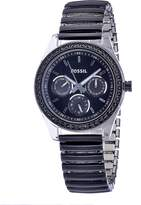 Fossil Women's Rubber Strap Steel Case Crystallized Bezel Dial Watch ES2954