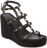 Valentino Rockstud 95 Ankle Strap Leather Wedge Sandal