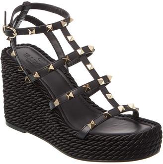 Valentino Rockstud 95 Ankle Strap Leather Wedge Sandal