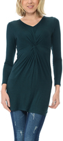 Magic Fit Dark Teal Knot-Front V-Neck Tunic