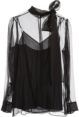 Valentino Sheer Pussybow Blouse