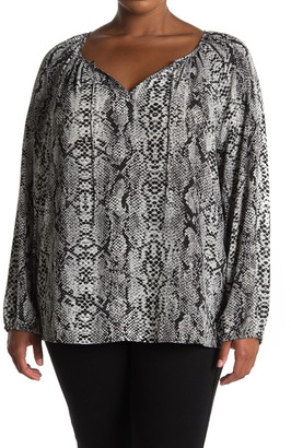 NYDJ Long Sleeve Snake Skin Print Blouse