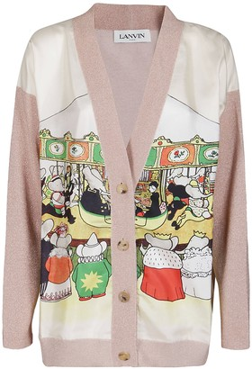Lanvin Contrasting Front Printed Oversized Cardigan