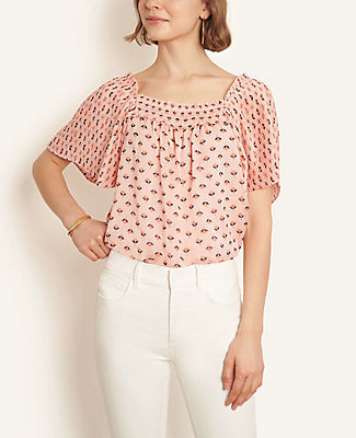 Ann Taylor Petite Floral Pleated Square Neck Top